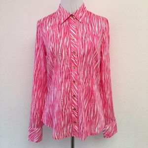 Lilly Pulitzer Pink Button Down Shirt Size 2